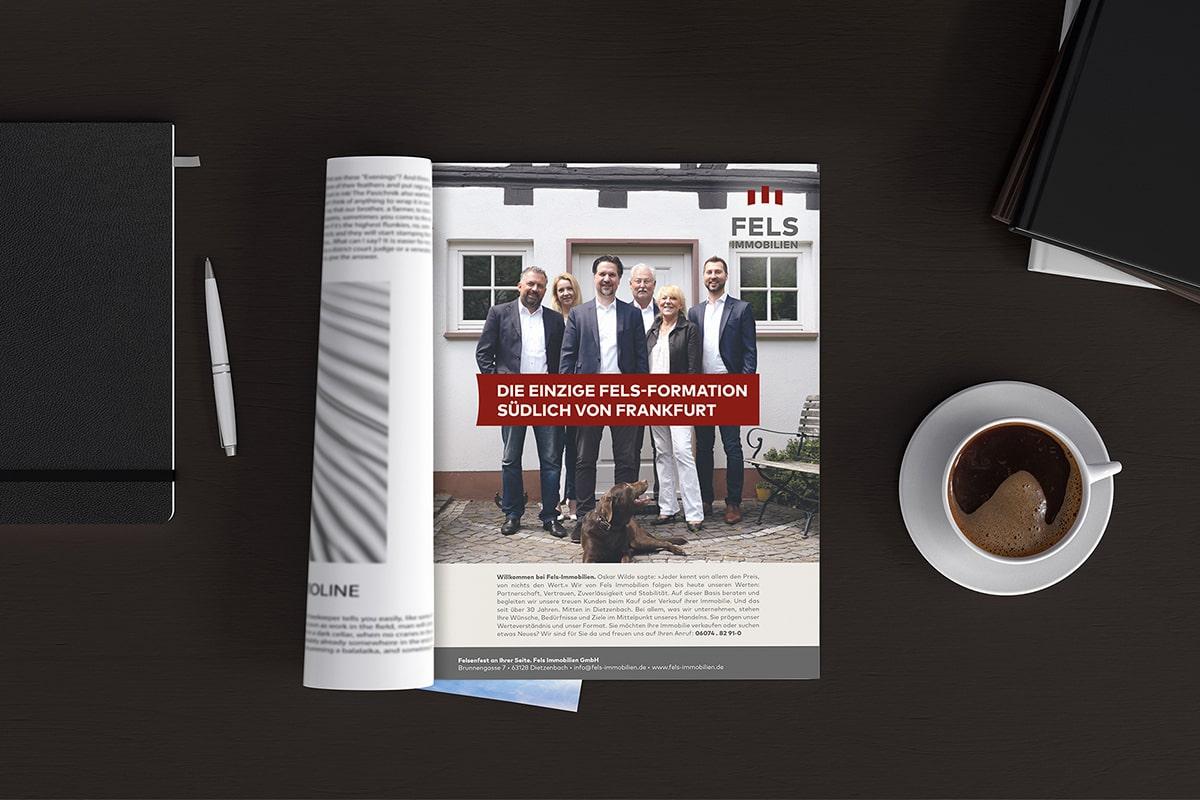 Fels Immobilien Werbung im Magazin