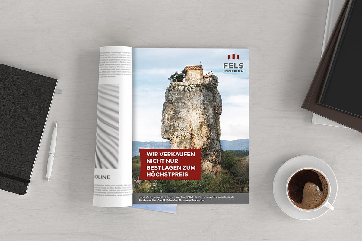 Fels Immobilien Werbung in Magazin